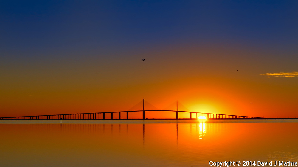 Sunshine Skyway at Sunrise on Thanksgiving from Fort Desoto Park in St. Petersburg, Florida. Image taken with a Leica T camera and 18-55 mm lens (ISO 400, 56 mm, f/11, 1/640 sec). Raw image processed with Capture One Pro 8, Google Efex Viiveza 2, and Photoshop CC 2104.
