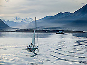 "The Martial Mountains rise above a sailboat on the Beagle Channel at Ushuaia, capital city of Tierra del Fuego Province, Argentina, South America. As the port closest to Antarctica (which is located 400 miles across the Drake Passage), Ushuaia hosts most of the cruise ships that visit the southernmost continent. Argentina claims Ushuaia is the ""southernmost city in the world"" (although the smaller Chilean town of Puerto Williams lies further south)."