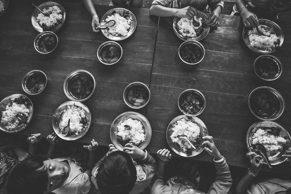 Orphans at lunch in Shan State, Myanmar.
