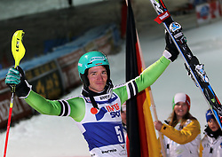 06.01.2014, Stelvio, Bormio, ITA, FIS Ski Alpin Weltcup, Bormio, Salom, Herren, Siegerpraesentation, im Bild Felix Neureuther (GER, 1 Platz) // 1st place Felix Neureuther of Germany celebrate on Podium after mens Slalom of the Bormio FIS Ski World Cup at the Stelvio Course in Bormio, Italy on 2014/01/06. EXPA Pictures © 2014, PhotoCredit: EXPA/ Sammy Minkoff<br /> <br /> *****ATTENTION - OUT of GER*****