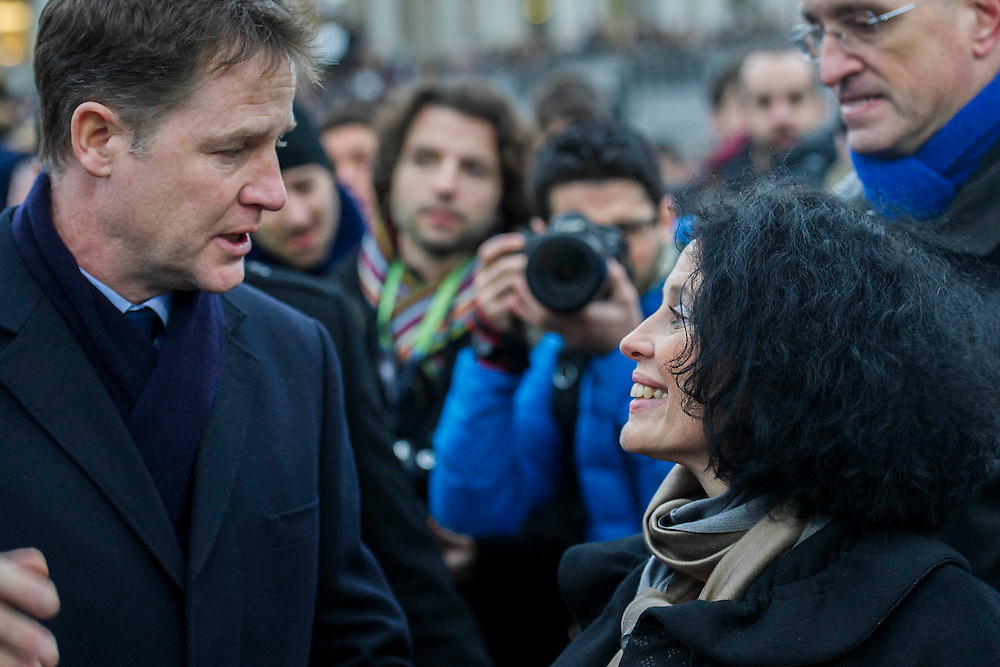 Nick Clegg (pictured meeting the French Ambassador) and Boris Johnson attend to show solidarity. Je suis Charlie/I am Charlie - A largely silent (with the occasional rendition of the Marseilaise)gathering in solidarity with the march in Paris today.  Trafalgar Square, London, UK 11 Jan 2015Guy Bell, 07771 786236, guy@gbphotos.com