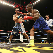 Dashon Johnson (right) fights against Luis Arias during Showtime Televisions ShoBox:The Next Generation boxing match at the Event Center at Turning Stone Resort Casino on Friday, February 28, 2014 in Verona, New York.  (AP Photo/Alex Menendez)