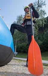 14.07.2015, Ainet, AUT, Eishockey Cracks bei Raftingtour auf der Isel, im Bild Michael Raffl (Philadelphia Flyers, NHL) // Hockey Cracks during a rafting tour on the East Tyrolean glacial river Isel Ainet, Austria on 2015/07/14. EXPA Pictures © 2015, PhotoCredit: EXPA/ Johann Groder