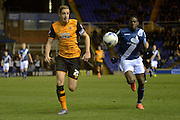 Birmingham City striker Clayton Donaldson closes down Hull City defender Michael Dawson 1-0 during the Sky Bet Championship match between Birmingham City and Hull City at St Andrews, Birmingham, England on 3 March 2016. Photo by Alan Franklin.