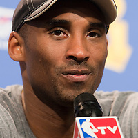 14 June 2009: Kobe Bryant of the Los Angeles Lakers is seen during the press conference after game 5 of the 2009 NBA Finals won 99-86 by the Los Angeles Lakers over the Orlando Magic at Amway Arena, in Orlando, Florida, USA. Kobe Bryant scores 30 points and leads the Lakers to15th Championship.