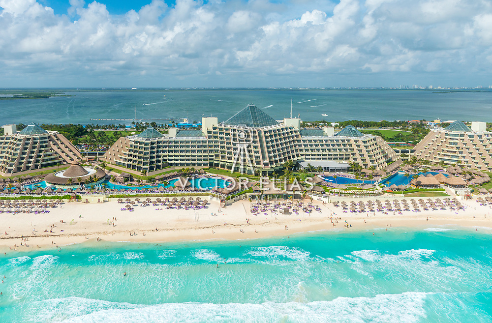 Aerial view of the Paradisus Cancun hotel.