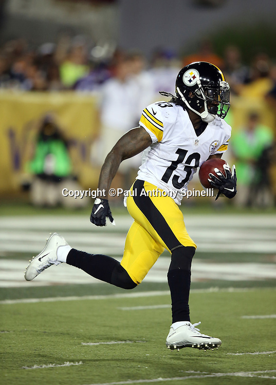Pittsburgh Steelers kick returner Dri Archer (13) returns a second quarter kickoff to the 30 yard line during the 2015 NFL Pro Football Hall of Fame preseason football game against the Minnesota Vikings on Sunday, Aug. 9, 2015 in Canton, Ohio. The Vikings won the game 14-3. (©Paul Anthony Spinelli)