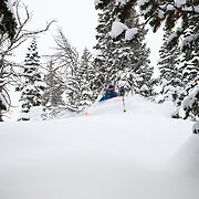 Eva Walkner skis blower storm powder in the Tetons.