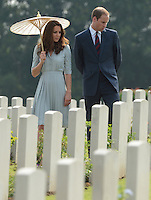 The Duke and Duchess of Cambridge visit the Kranji Commonwealth War Cemetery, Singapore, as part of their Diamond Jubilee Tour of South East Asia, on the 12th September 2012<br />
