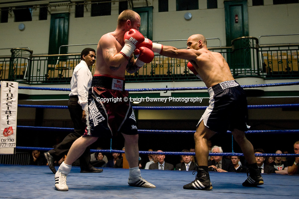 Duncan Cottier v Jamal Morrison (right) at York Hall 4th October 2009. Promoted by David Coldwell,Hayemaker Promotions Credit: ©Leigh Dawney Photography