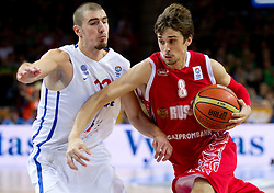 Nando de Colo of France vs Aleksey Shved of Russia during basketball game between National basketball teams of France and Russia in 2nd Semifinal of FIBA Europe Eurobasket Lithuania 2011, on September 16, 2011, in Arena Zalgirio, Kaunas, Lithuania.  (Photo by Vid Ponikvar / Sportida)