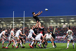 Charlie Ewels of Bath Rugby rises high to win lineout ball - Mandatory byline: Patrick Khachfe/JMP - 07966 386802 - 18/01/2020 - RUGBY UNION - Kingspan Stadium - Belfast, Northern Ireland - Ulster Rugby v Bath Rugby - Heineken Champions Cup