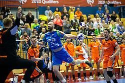 Vid Kavticnik of Slovenia during handball match between National teams of Slovenia and Netherlands in Qualifications of 2020 Men's EHF EURO, on April 14, 2019, in Arena Zlatorog, Celje, Slovenia. Photo by Vid Ponikvar / Sportida