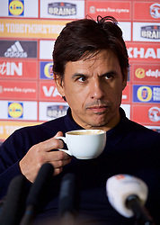 CARDIFF, WALES - Thursday, March 16, 2017: Wales' manager Chris Coleman drinks coffee during a press conference at the Vale Resort to announce his squad for the forthcoming 2018 FIFA World Cup Qualifying Group D match against Republic of Ireland. (Pic by David Rawcliffe/Propaganda)