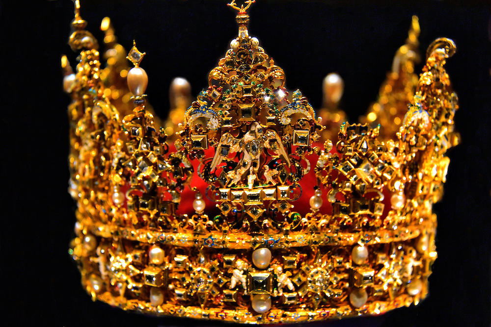 Christian IV&rsquo;s Crown in Copenhagen, Denmark<br /> Christian IV was the King of Denmark from 1588 until 1684, making him the country&rsquo;s longest reigning monarch.  His crown is showcased among other Danish Crown Ragalia in a basement vault of The Treasury which is part of Rosenborg Castle. It was crafted by Didrik Fyren in 1596.  The gold, cut diamonds, pearls and other gemstones weigh about 6.4 pounds.