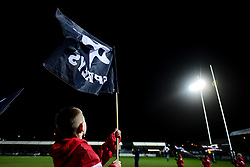 Guinness PRO14, The Gnoll, Neath, UK 21/02/2020<br /> Ospreys vs Leinster Rugby<br /> A flag bearer prior to kick off<br /> Mandatory Credit ©INPHO/Ryan Hiscott