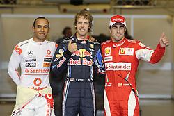 Motorsports / Formula 1: World Championship 2010, GP of Abu Dhabi, 02 Lewis Hamilton (GBR, Vodafone McLaren Mercedes), 05 Sebastian Vettel (GER, Red Bull Racing), 08 Fernando Alonso (ESP, Scuderia Ferrari Marlboro),