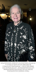 Writer BARONESS JAMES OF HOLLAND PARK, at a dinner in London on 22nd January 2002.OWU 55