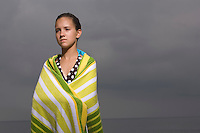 Portrait of girl wrapped in towel