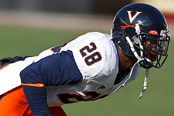 November 20, 2010; Chestnut Hill, MA, USA;  Virginia Cavaliers cornerback Devin Wallace (28) warms up before the game against the Boston College Eagles at Alumni Stadium.  Boston College defeated Virginia 17-13.