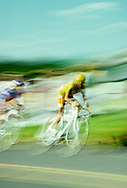 BLACKSBURG, VA:  Bikes race in the Tour Du Pont thru the streets of Blacksburg, Virginia.