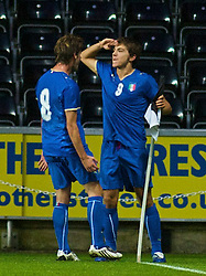 SWANSEA, ENGLAND - Friday, September 4, 2009: Italy's Alberto Paloschi celebrates scoring the equaliser against Wales during the UEFA Under 21 Championship Qualifying Group 3 match at the Liberty Stadium. (Photo by Gareth Davies/Propaganda)