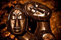Zimsculpt at Van Dusen Botanical Garden: As One - springstone sculpture by Euwitt Nyanhongo (original sculpture available at www.zimsculpt.com)