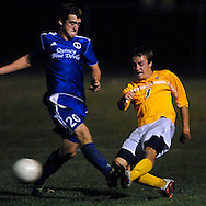 25 Oct. 2011 -- GRANITE CITY, Ill. -- Quincy High School soccer player Blake Herman (1) battles O'Fallon Township High School's Ryan Lawhead (7) for control of the ball during the IHSA Class 3A Normal Community sectional semifinal at Granite City High School in Granite City, Ill. Tuesday, Oct. 25, 2011. Quincy won, 2-1, in overtime. Photo © copyright 2011 Sid Hastings.