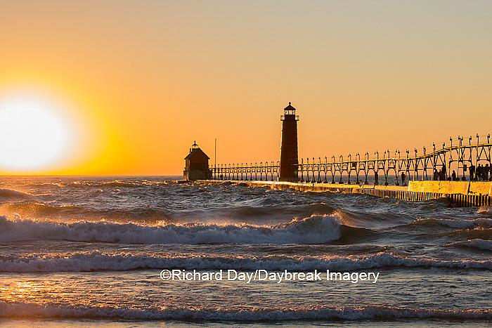 64795-01117 Grand Haven South Pier Lighthouse at sunset on Lake Michigan, Ottawa County, Grand Haven, MI