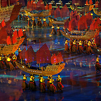 Participants perform with a ship during the Opening Ceremony of the Nanjing Youth Olympic Games 2014 in Nanjing, China 16 August 2014.
