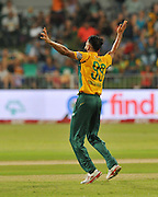 Imran Tahir of South Africa celebrates during the 2016 T20 International Series match between South Africa and Australia in Kingsmead Stadium Durban, Kwa-Zulu Natal on 04 March 2016©Muzi Ntombela/Backpagepix