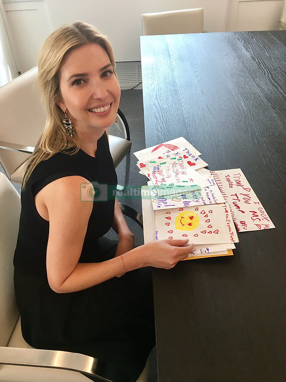 "Ivanka Trump releases a photo on Twitter with the following caption: """"Overjoyed by these beautiful letters. Reading them is one of the highlights of my week. 😍"""". Photo Credit: Twitter *** No USA Distribution *** For Editorial Use Only *** Not to be Published in Books or Photo Books ***  Please note: Fees charged by the agency are for the agency's services only, and do not, nor are they intended to, convey to the user any ownership of Copyright or License in the material. The agency does not claim any ownership including but not limited to Copyright or License in the attached material. By publishing this material you expressly agree to indemnify and to hold the agency and its directors, shareholders and employees harmless from any loss, claims, damages, demands, expenses (including legal fees), or any causes of action or allegation against the agency arising out of or connected in any way with publication of the material."