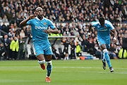 Wolverhampton Wanderers striker Benik Afobe celebrates scoring the equaliser during the Sky Bet Championship match between Derby County and Wolverhampton Wanderers at the iPro Stadium, Derby, England on 18 October 2015. Photo by Alan Franklin.