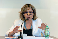 ROME, ITALY - JUNE 26: Elisa Manna, Head of the Caritas Study Centre of Rome during the press conference to present a survey conducted by Caritas of Rome on a sample of 1,600 young people regarding the knowledge and consumption of gambling on June 26, 2018 in Rome, Italy.