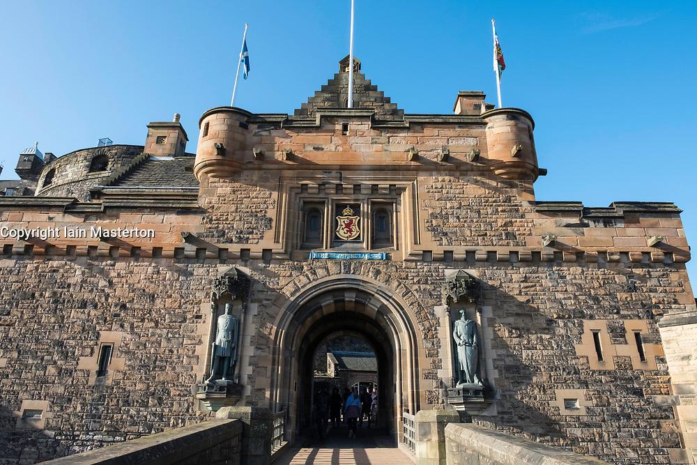 View of entrance to Edinburgh Castle on esplanade in Edinburgh, Scotland, United Kingdom