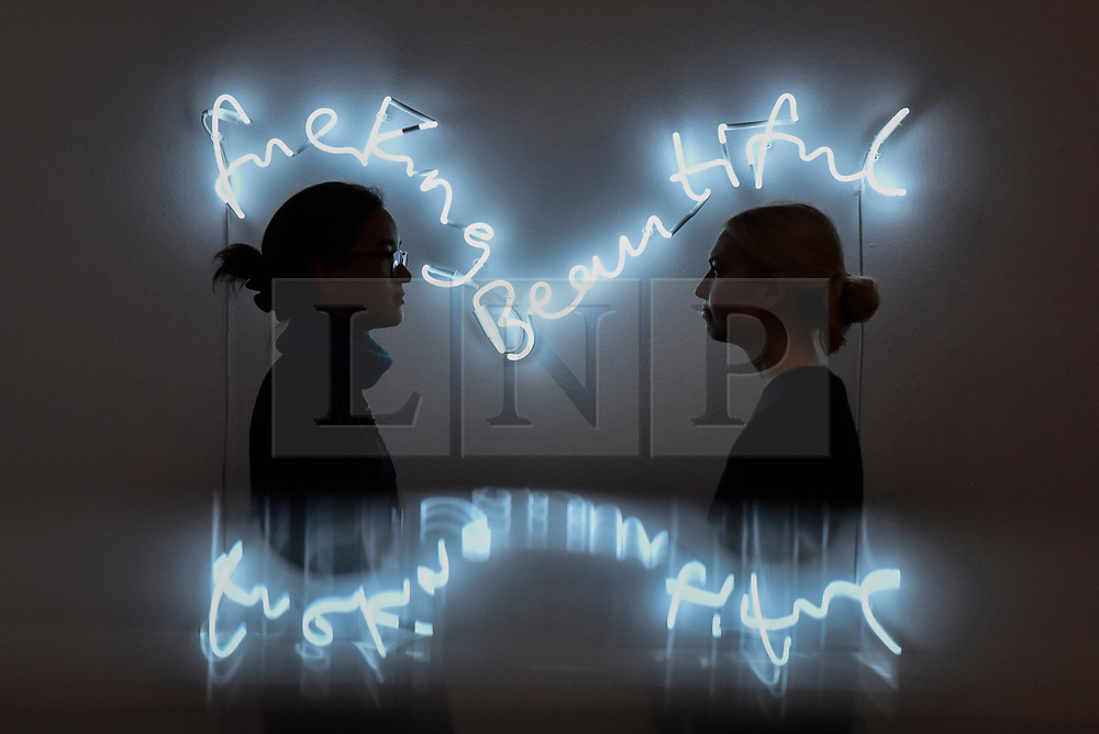 "© Licensed to London News Pictures. 12/10/2017. London, UK.  Staff members view ""fuckingbeautiful"", 2013, by Tim Noble and Sue Webster (Est. GBP25-35k) at a preview of artworks for the ""Art for Grenfell"" auction taking place at Sotheby's, New Bond Street, on 16 October.  Leading contemporary artists have agreed to donate works to the auction, the proceeds of which will be divided equally amongst the 158 surviving families of the Grenfell Tower fire by the Rugby Portobello Trust charity. Photo credit : Stephen Chung/LNP"