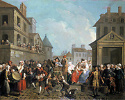 Carnival in Paris', oil on canvas by Etienne Jeaurat (1699-1789) French painter.   Street scene with music, dancing,  and drinking.  Water carrier, bottom right, spectators on balcony and at windows.