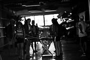 Plovdiv BULGARIA. 2017 FISA. Rowing World U23 Championships. <br /> DEN BW8+, weight their boat.<br /> Friday Boat Area. Boat Racks Pontoons.<br /> <br /> 08:34:45  Friday  21.07.17   <br /> <br /> [Mandatory Credit. Peter SPURRIER/Intersport Images].