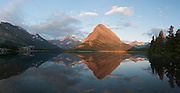 Panorama of Mount Grinnell Reflected in Swiftcurrent Lake, Glacier National Park, Montana