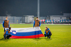 Slovenian flag during football match between Slovenia and France in Qualifying round for European Under-21 Championship 2019, on November 13, 2017 in Sportni park, Domzale, Slovenia.  Photo by Ziga Zupan / Sportida