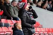 Grimsby Town fans watch on during the EFL Sky Bet League 2 match between Grimsby Town FC and Port Vale at Blundell Park, Grimsby, United Kingdom on 10 March 2018. Picture by Mick Atkins.