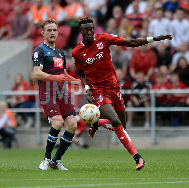 Tammy Abraham of Bristol City closes down the ball with Alex Pearce of Derby County - Mandatory by-line: Dougie Allward/JMP - 17/09/2016 - FOOTBALL - Ashton Gate Stadium - Bristol, England - Bristol City v Derby County - Sky Bet Championship