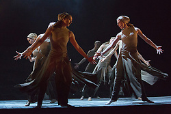 "© Licensed to London News Pictures. 01/04/2014. London, England. Pictured: World Premiere ""Dust"", choreography by Akram Khan. Dress rehearsal of the English National Ballet's programme ""Lest We Forget"" with dance inspired by the centenary of the Great War, Barbican Theatre, London. Award-winning British contemporary choreographers Akram Khan, Russell Maliphant and classical ballet choreographer Liam Scarlett have each been commissioned to create new work to reflect the moving and powerful impact of the First World War on those setting off to fight and those left behind. The programme is completed by George Williamson's re-worked Firebird. 2 - 12 April 2014. Photo credit: Bettina Strenske/LNP"