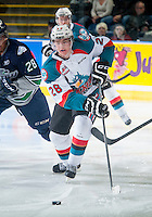 KELOWNA, CANADA - JANUARY 16: Joe Gatenby #28 of Kelowna Rockets skates with the puck against the Seattle Thunderbirds on January 16, 2015 at Prospera Place in Kelowna, British Columbia, Canada.  (Photo by Marissa Baecker/Shoot the Breeze)  *** Local Caption *** Joe Gatenby;