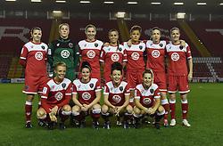Bristol Academy WFC line up at Ashton Gate ready to face FC Barcelona  - Photo mandatory by-line: Paul Knight/JMP - Mobile: 07966 386802 - 13/11/2014 - SPORT - Football - Bristol - Ashton Gate Stadium - Bristol Academy v FC Barcelona - UEFA Women's Champions League
