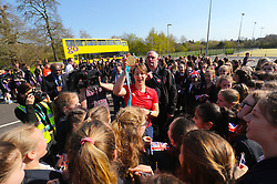 Lizzy Yarnold meets pupils from the Trinity School in Sevenoaks during the victory bus tour through Sevenoaks, Kent. PRESS ASSOCIATION Photo. Picture date: Wednesday April 18, 2018. Yarnold became the first Briton - and the first skeleton athlete - to win successive Winter Games gold medals. Photo credit should read: Gareth Fuller/PA Wire
