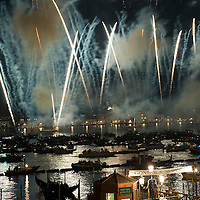 VENICE, ITALY - JULY 20:  Fireworks explode over the St. Mark's Basin for the Redentore Celebrations on July 20, 2013 in Venice, Italy. Redentore, which is in remembrance of the end of the 1577 plague, is one of Venice's most loved celebrations. Highlights of the celebration include the pontoon bridge extending across the Giudecca Canal, gatherings on boats in the St. Mark's Basin and a spectacular fireworks display.  (Photo by Marco Secchi/Getty Images)