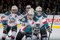 KELOWNA, CANADA - DECEMBER 27: Myles Bell #29 of the Kelowna Rockets celebrates a goal against the Kamloops Blazers on December 27, 2013 at Prospera Place in Kelowna, British Columbia, Canada.   (Photo by Marissa Baecker/Shoot the Breeze)  ***  Local Caption  ***