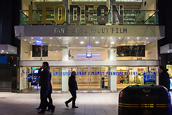 "Leicester Square, London, February 29th 2016. Workers remove the ""LE"" from the ODEON lign which was added when actor Leonardo DiCaprio won his Oscar for his performance in the Revenant."