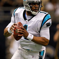 January 1, 2012; New Orleans, LA, USA; Carolina Panthers quarterback Cam Newton (1) against the New Orleans Saints during the first quarter of a game at the Mercedes-Benz Superdome. Mandatory Credit: Derick E. Hingle-US PRESSWIRE